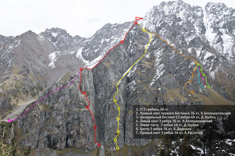 Пик Октябрёнок с нитками маршрутов