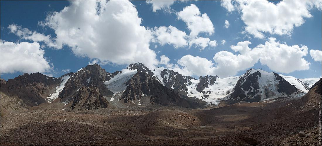 Панорама правого борта цирка ледника Туюксу.