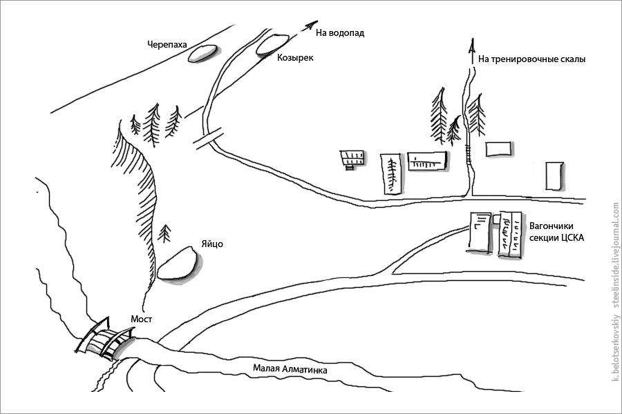 Карта камней для боулдеринга в окрестностях Туюксу