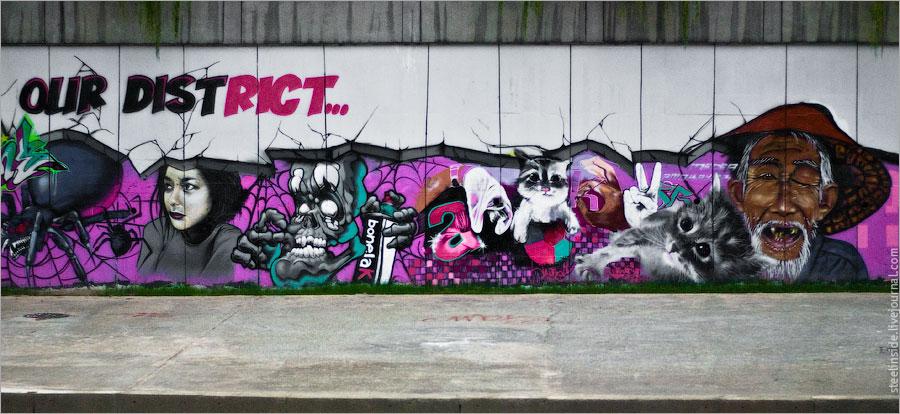 Граффити на берегу речки Сунгай Келан