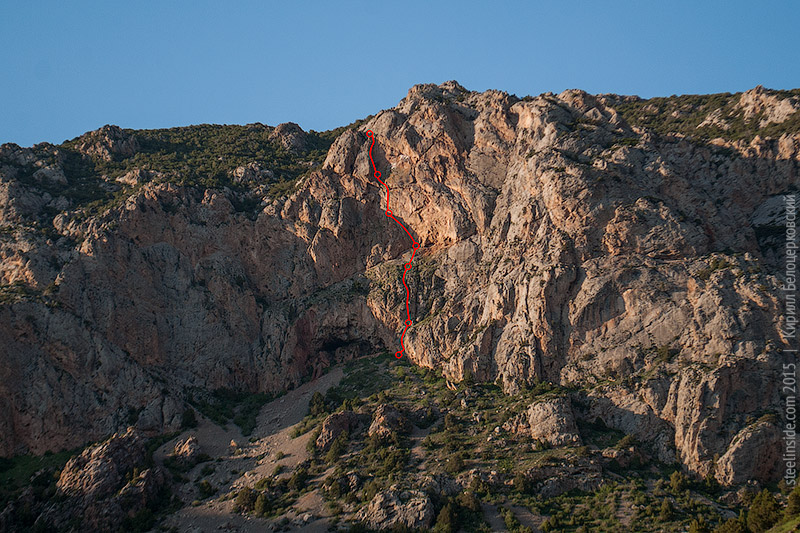 Нитка маршрута на скалу КызылСау