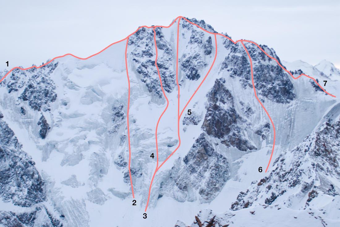 Нитки маршрутов по северной стене