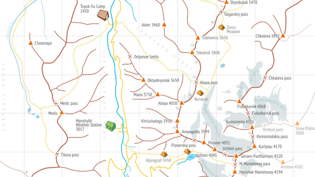 Detailed map of Tuyuk-Su area