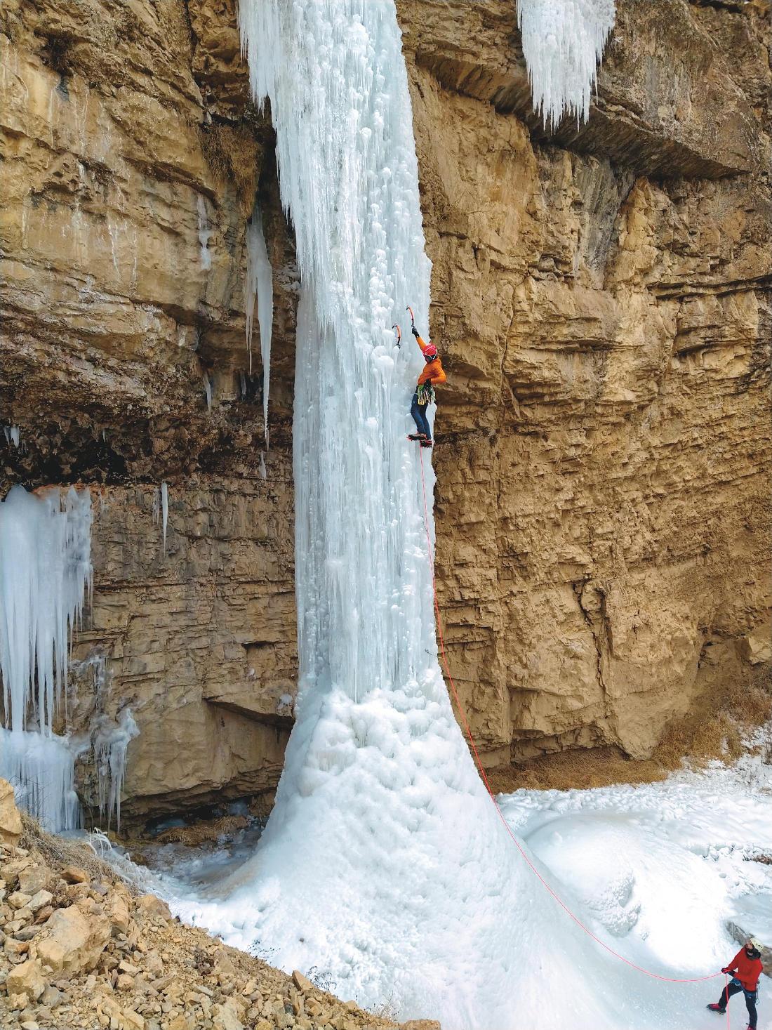 Kirill on a steep ice pillar