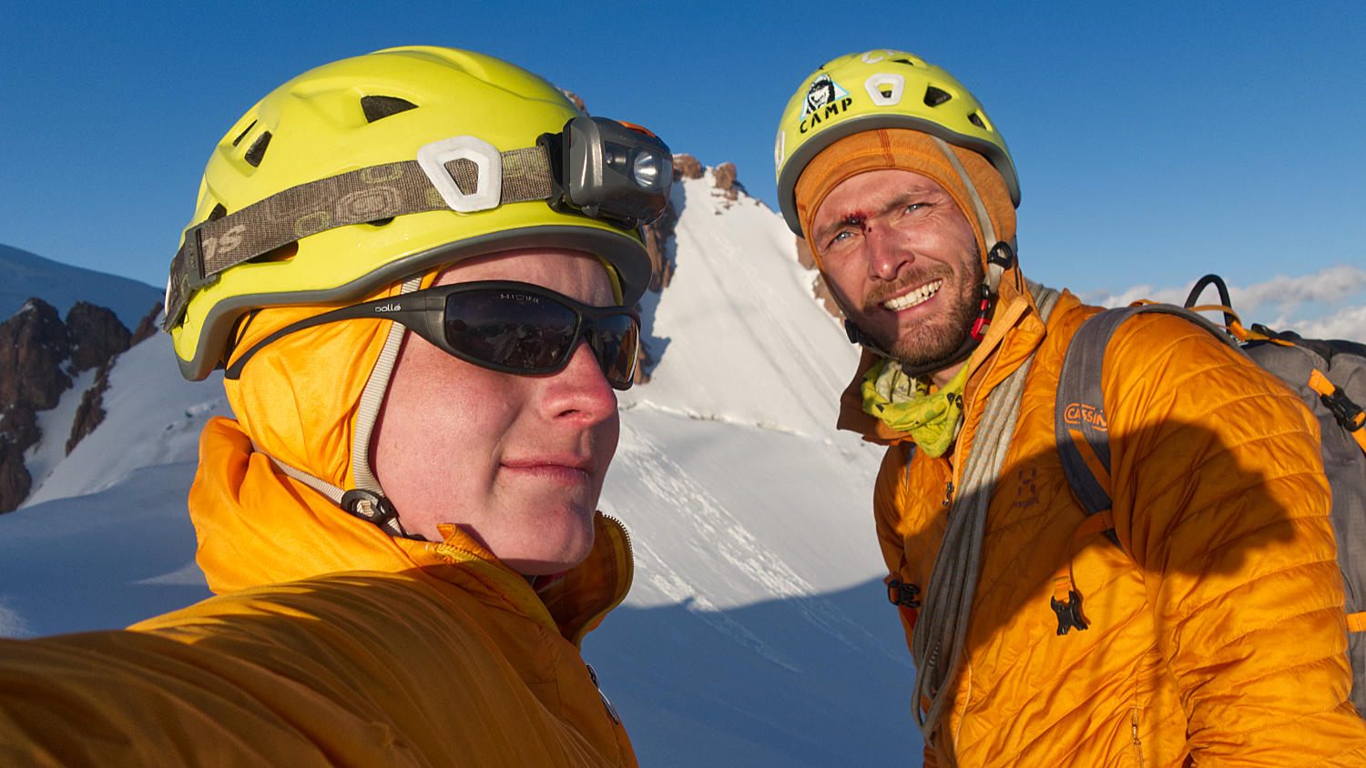 Grisha Chshukin and Kirill Belotserkovskiy on the summit of mt Trud