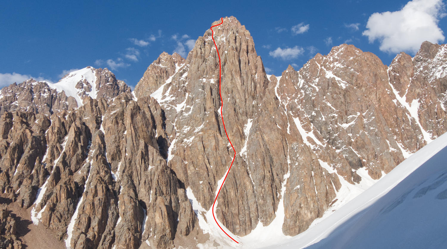 The line of our route on peak Trud